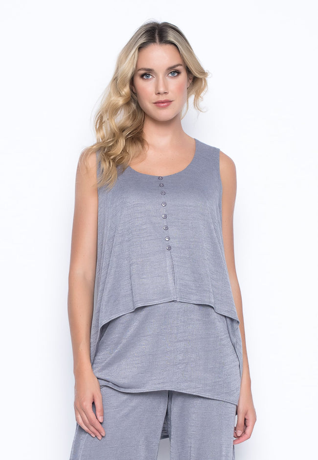 Draped Tank with Buttons in grey by Picadilly Canada