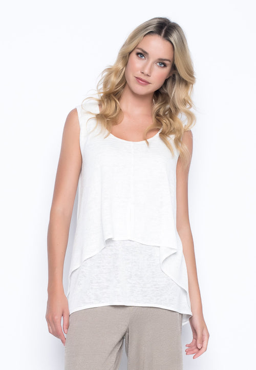Draped Tank with Buttons in white by Picadilly Canada
