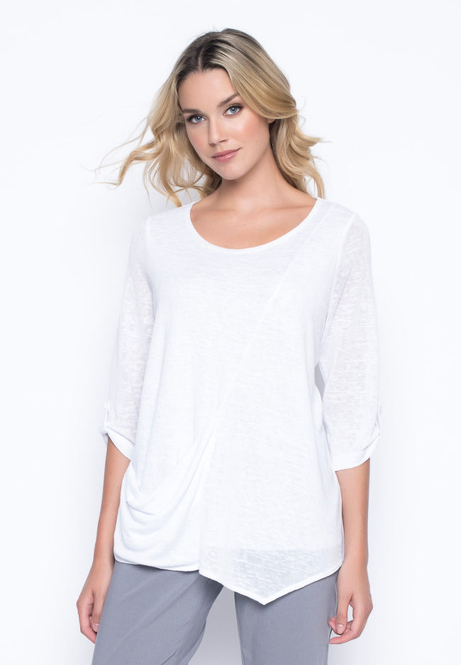 ¾ Sleeve Top With Draped Pocket in white by Picadilly Canada