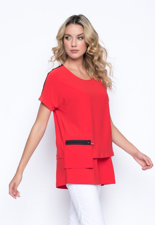 Grommet Trim Cropped Top in red by Picadilly Canada