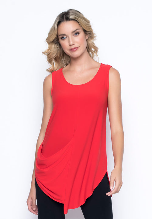 Draped Pocket Tank in red by picadilly canada
