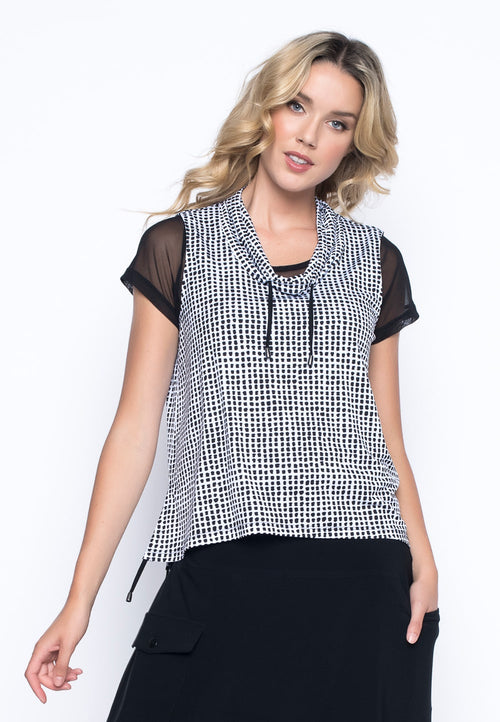 Drawstring Collar Cropped Vest by Picadilly Canada
