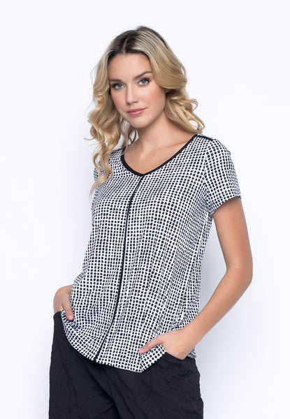 Short Sleeve V-Neck Piping Top By Picadilly canada