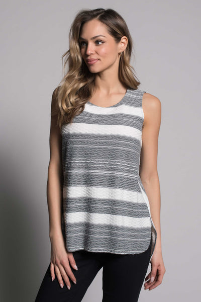 Textured Stripe Curved Hi-Low Hem Tank in grey by picadilly canada