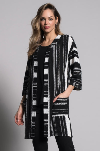 Textured Stripe Open-Front Jacket with Pockets by picadilly canada