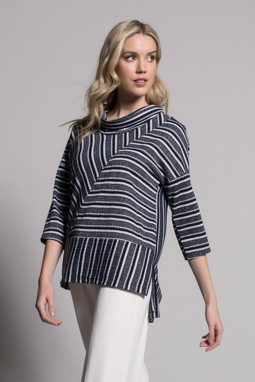 Draped Neck Drop Shoulder Top by Picadilly Canada