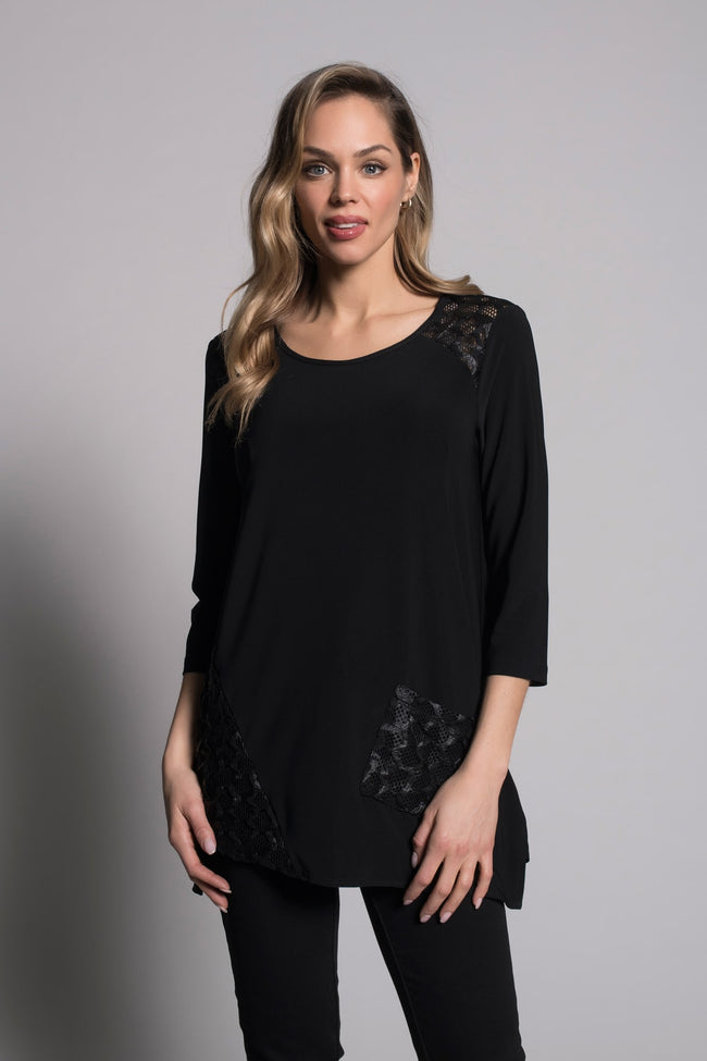 3/4 Sleeve Asymmetrical Hem Top by picadilly canada in black