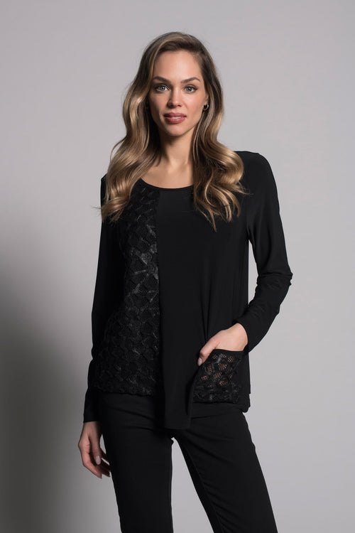 Long Sleeve Asymmetric Hem Top With Pocket in black by picadilly canada