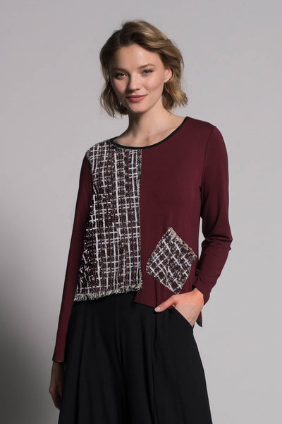 Fringe Trim Asymmetric Top by picadilly canada