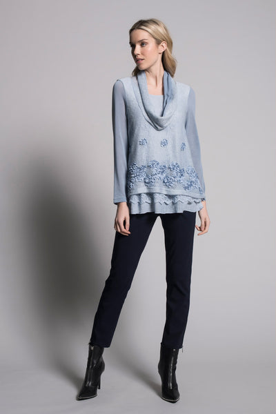 baby blue long sleeve embellished top by picadilly full outfit image