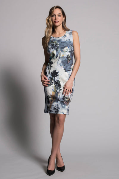 full look of the Abstract Floral Sleeveless Dress by picadilly canada