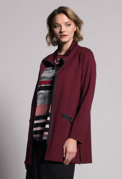 Zip-Front Drawstring Collar Jacket by picadilly canada