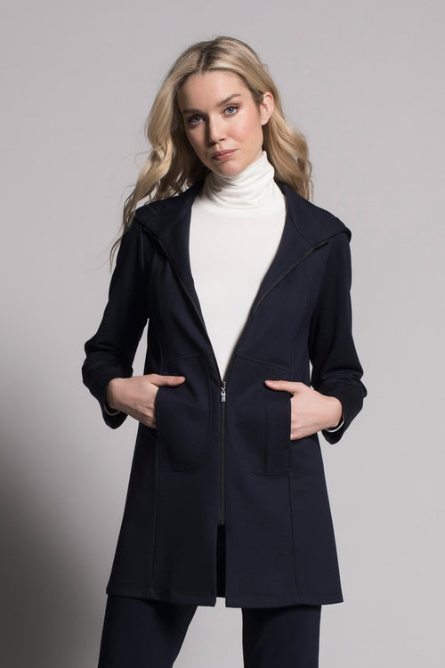 Zip-Front Jacket With Hoodie in deep navy by Picadilly Canada