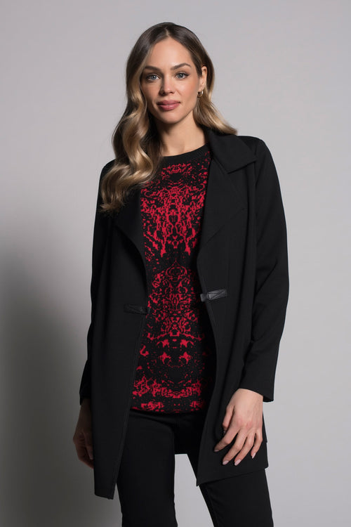 Notched Collar Jacket With Pockets in black by picadilly canada