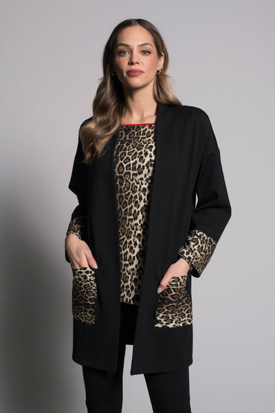 Contrast Trim Open-Front Jacket by picadilly canada