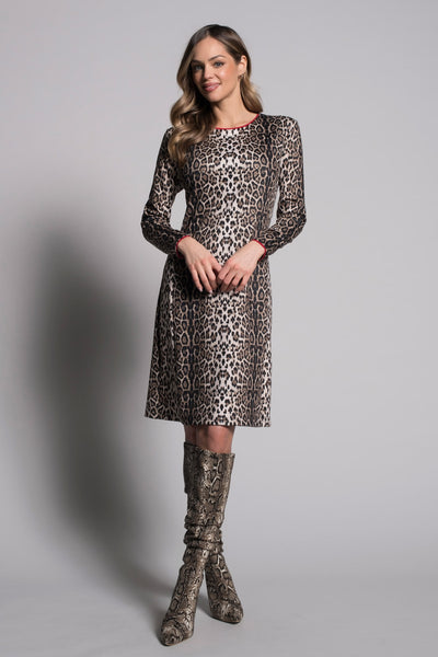 full outfit of Long Sleeve A-Line Dress With Piping by picadilly canada