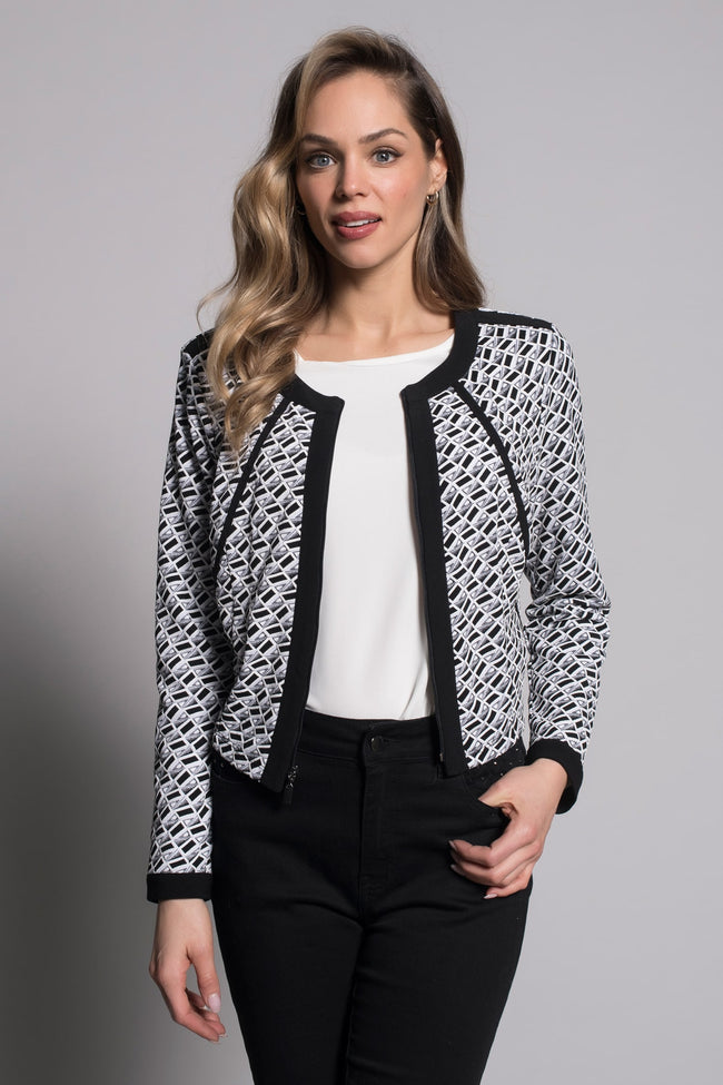 Zip-Front Jacket With Black Trim unzipped by picadilly canada