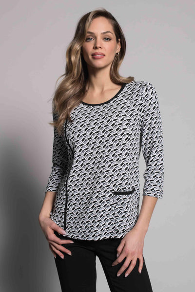¾ Sleeve Top With Pocket by picadilly canada