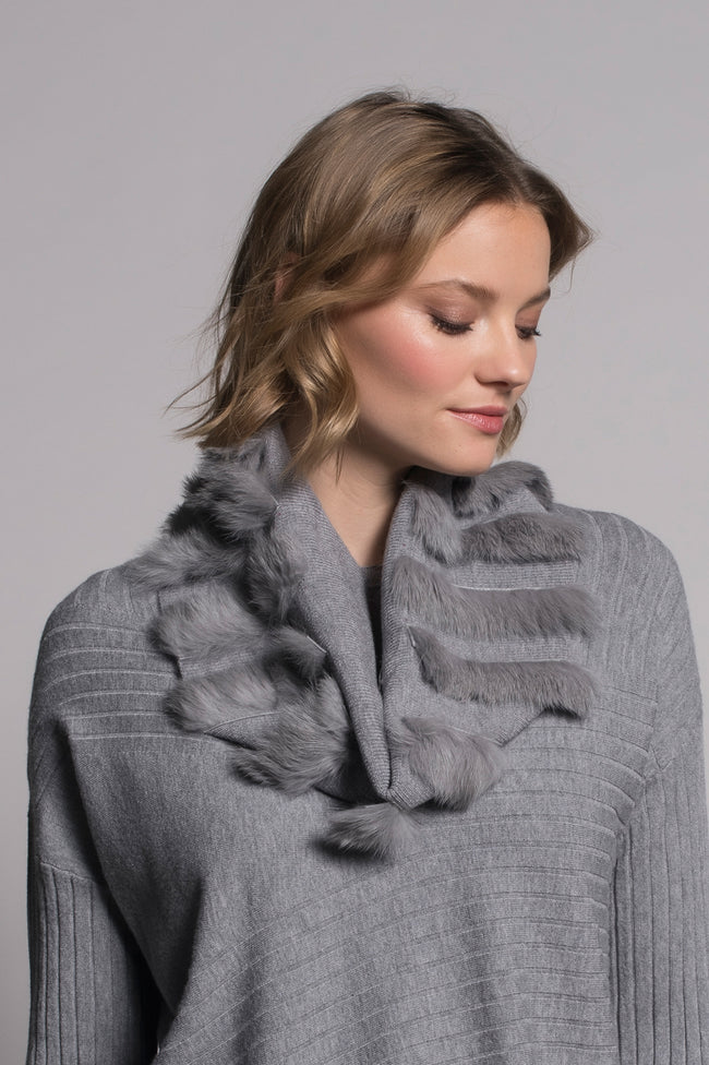 Fur Trim Infinity Scarf in grey by picadilly canada