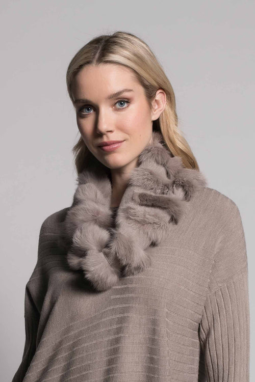 Fur Trim Infinity Scarf in taupe by picadilly canada