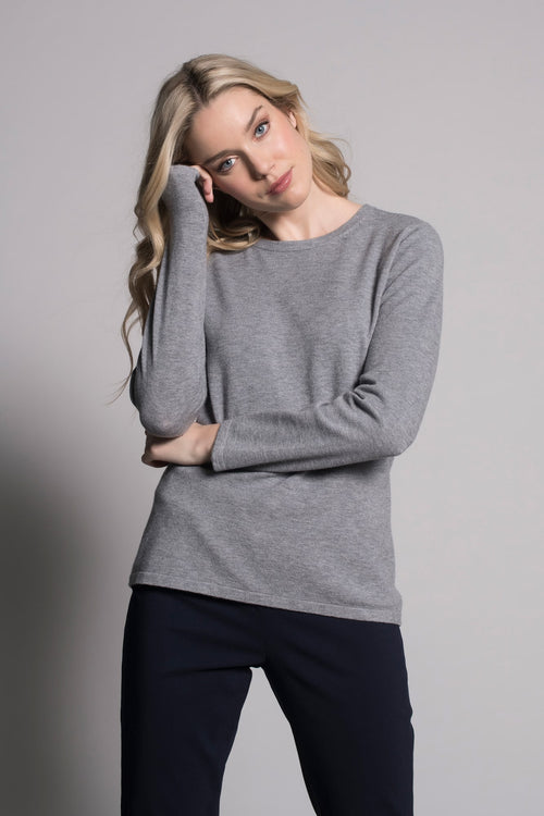 grey long sleeve crew neck top by picadilly