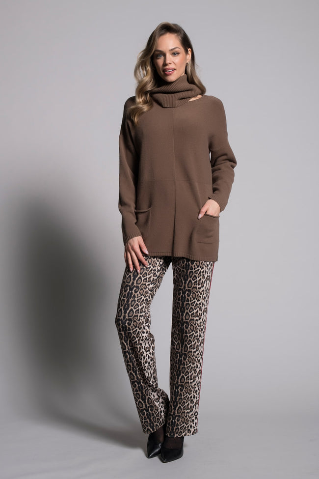Drop-Shoulder Sweater Top With Pockets in brown by Picadilly canada