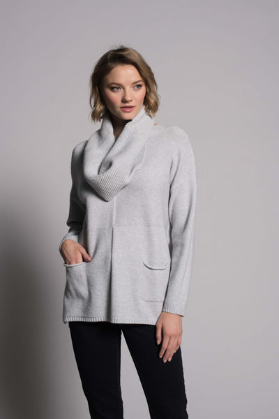 Drop-Shoulder Sweater Top With Pockets in grey by Picadilly canada