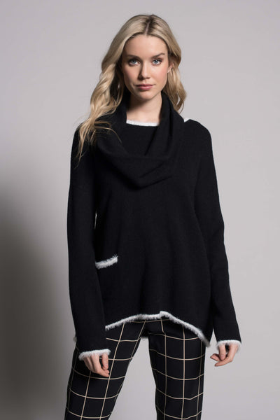 White Trim Top With Pocket in black by picadilly canada