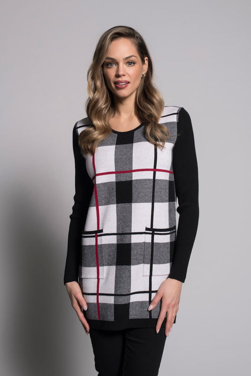Plaid Tunic Sweater With Pockets by picadilly canada
