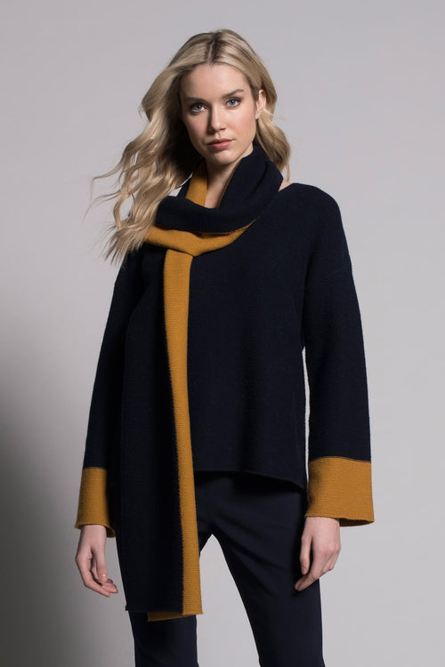 Two Tone Top in navy and amber by Picadilly Canada