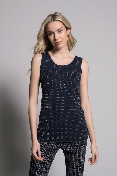 deep navy embellished tank top by picadilly