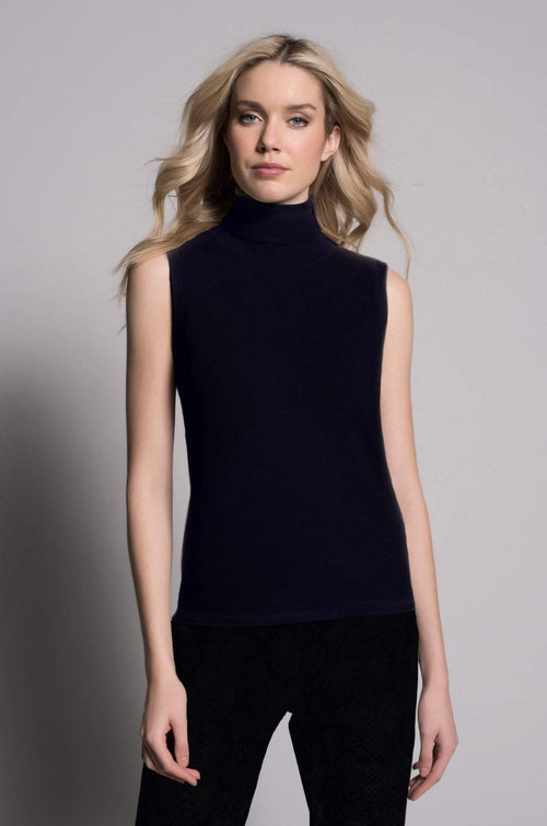 Turtle Neck Tank in deep navy by Picadilly Canada