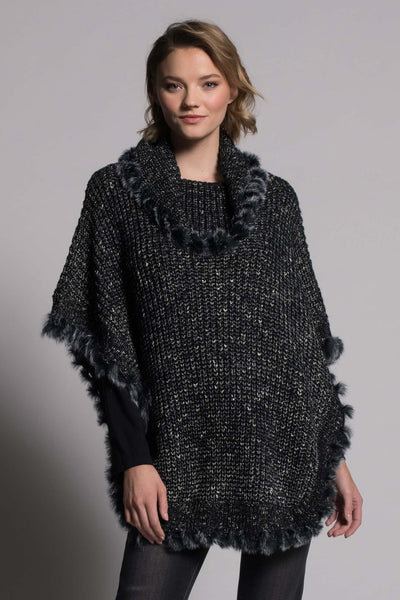 Turtle Neck Poncho Sweater in black by picadilly canada