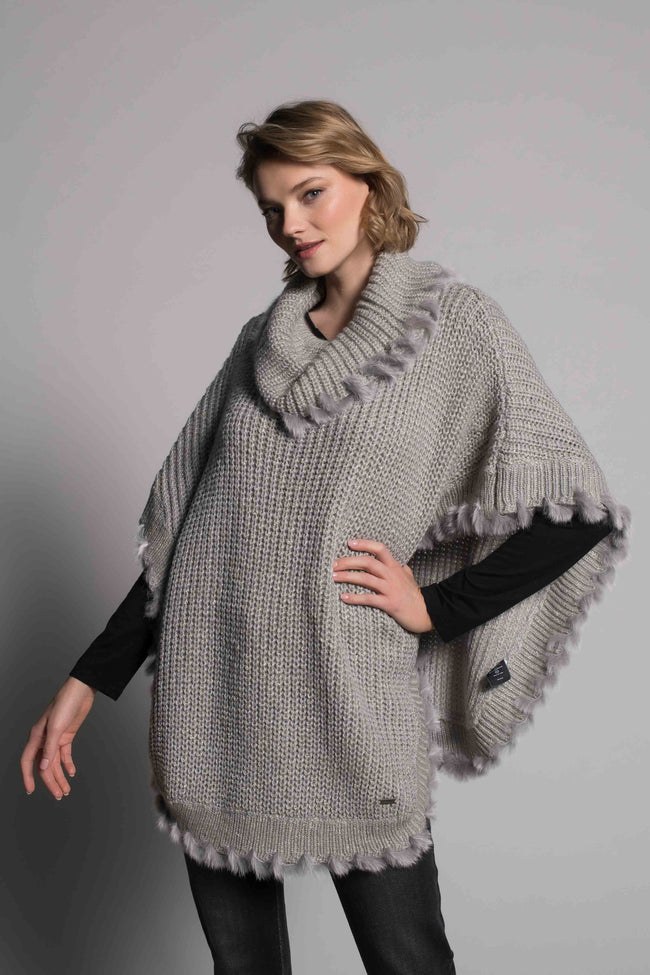 Turtle Neck Poncho Sweater in grey by picadilly canada