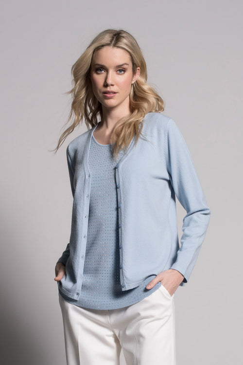 Baby blue cardigan by Picadilly Canada