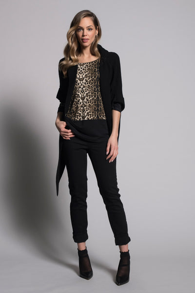 outfit featuring Front-Tie Sweater Jacket With Hoodie in black by Picadilly canada