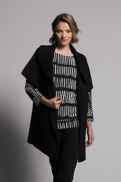 black draped collar sweater jacket with pocked by Picadilly