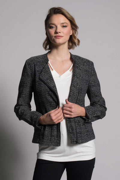 Plaid Print Asymmetric Zip Front Jacket by picadilly canada