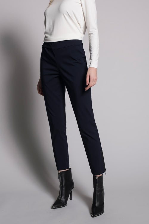 Zipper Trim Ankle Pants in deep navy by picadilly canada