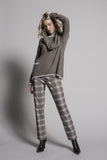 outfit featuring the Plaid Print Pull-On Straight Leg Pants by picadilly canada