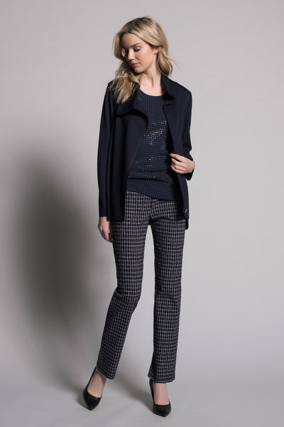 outfit featuring Dash Grid Print Pull-On Straight Leg Pants by Picadilly Canada