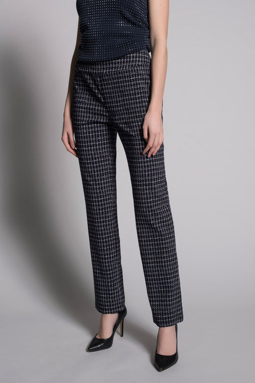 Dash Grid Print Pull-On Straight Leg Pants by Picadilly Canada