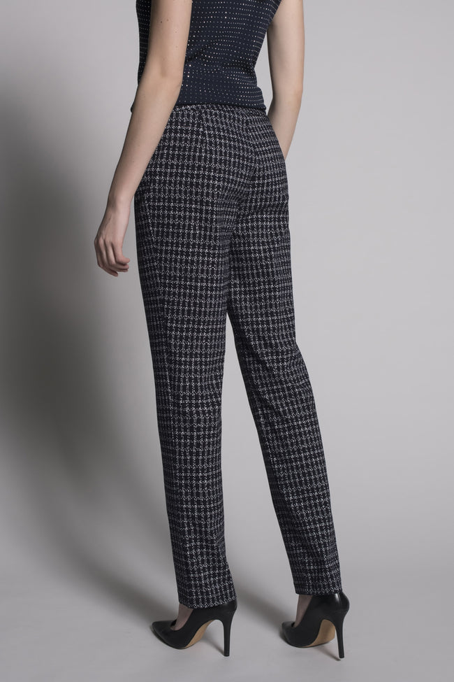 Back view Dash Grid Print Pull-On Straight Leg Pants by Picadilly Canada