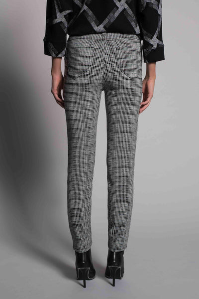 back view of the Grid Print Straight Leg Pants by picadilly canada