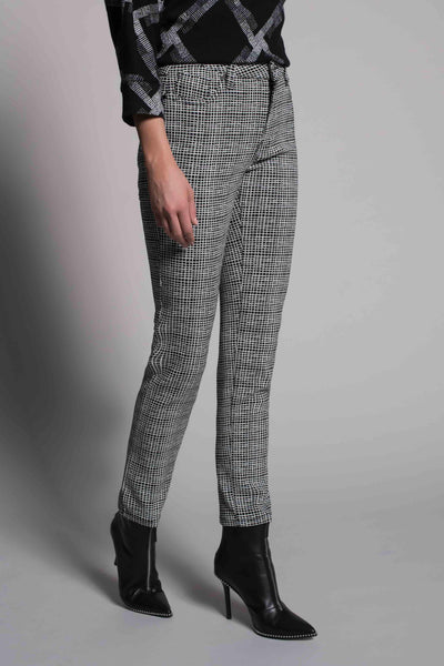 side view of the Grid Print Straight Leg Pants by picadilly canada