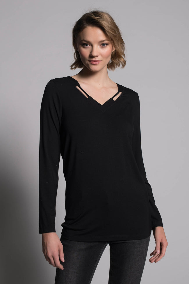 Long Sleeve V-Neck Detail Top in black by picadilly caanada