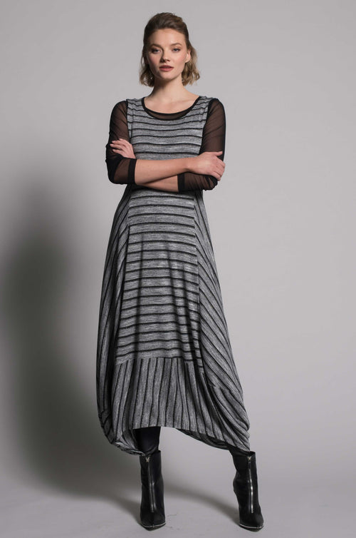 Grey Metallic Stripe Sleeveless Bubble Dress by picadilly canada