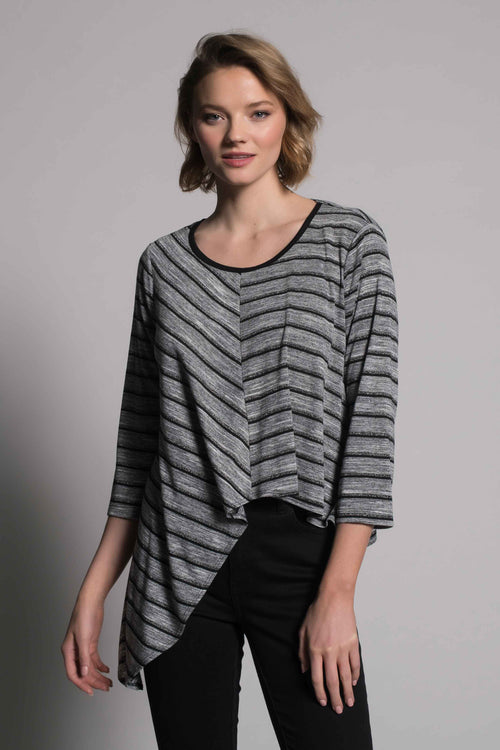 ¾ Sleeve Asymmetric Hem Top by picadilly canada