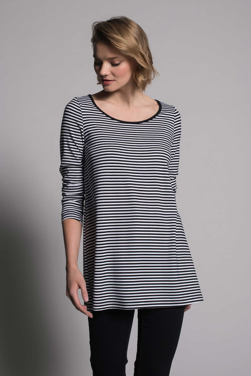 Stripe Long Sleeve Crew Neck Top by picadilly canada