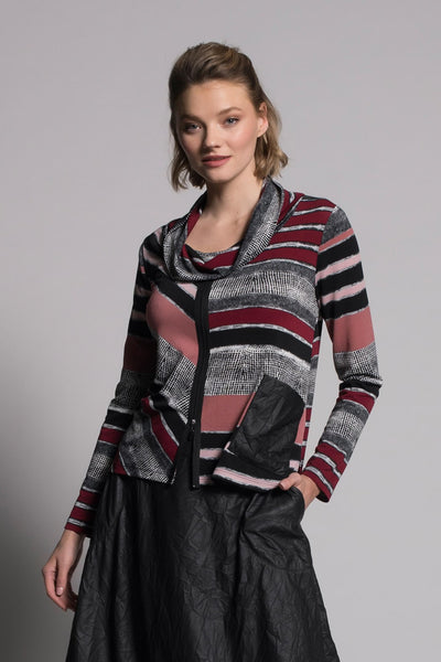 Printed Draped Collar Zipper Trim Tunic in bordeaux multi by picadilly canada